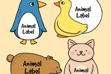 4款彩绘动物标签矢量梦之城娱乐