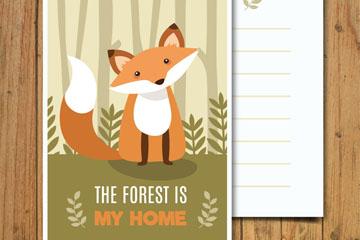 可爱森林狐狸卡片矢量素材