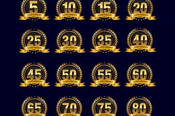 20款金色周年纪念数字标签矢量图
