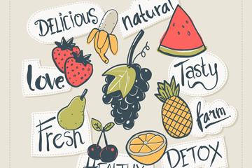 8款彩绘水果贴纸矢量素材