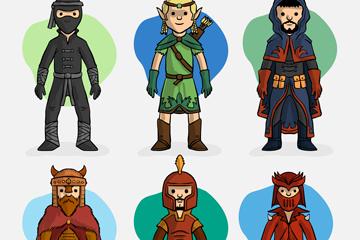 6款创意游戏角色设计矢量图