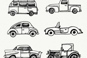 6款手绘车辆设计矢量素材