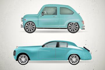2款蓝色复古车辆设计矢量素材