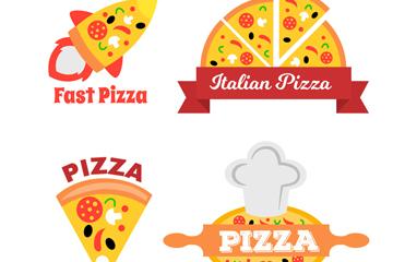 4款创意披萨店标签矢量素材