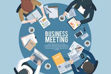 创意商务圆桌会议俯视图矢量w88优德