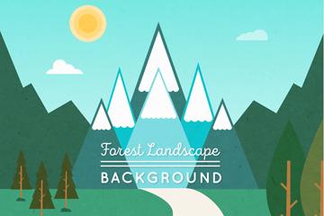 扁平化森林雪山风景矢量图