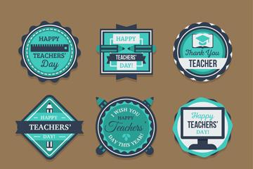 9款蓝色教师节标签矢量素材