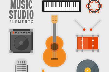8款扁平化音乐工作室用品矢量图