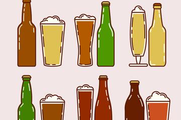 6组彩绘啤酒设计矢量素材