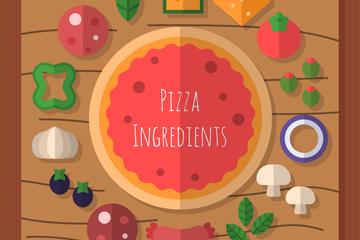 扁平化美味披萨矢量素材