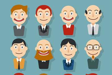 12款笑脸男子头像矢量w88优德