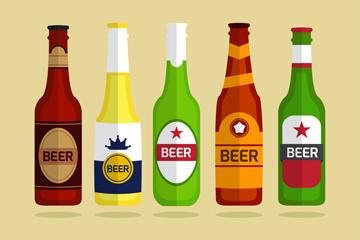 5款彩色瓶装啤酒矢量素材