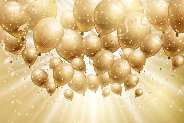 金色节日气球和光晕矢量素材