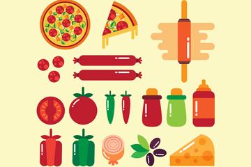 17款扁平化意大利披萨原料矢量图