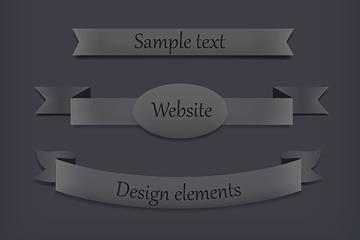 4款炭灰色网页丝带条幅矢量素材