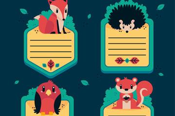 4款可爱动物留言卡设计矢量图