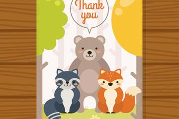 可爱3个动物感恩卡片矢量素材