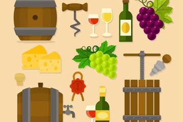 14款扁平化葡萄酒元素矢量素材