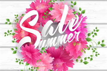 粉色花卉花环和夏季促销艺术字矢量素材