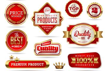 12款金边红色优质促销标签矢量图