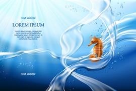 蓝色海底海浪和海马矢量素材