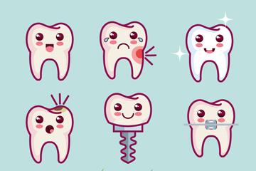 9款卡通牙齿设计矢量素材