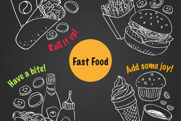 4组手绘快餐食品矢量素材