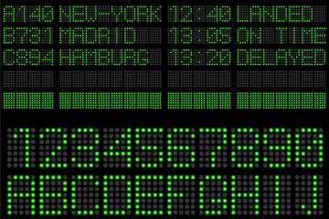 40个绿色LED字母和数字设计矢量