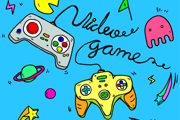 彩绘电子游戏元素背景矢量素材