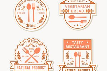 4款创意餐厅标签矢量素材