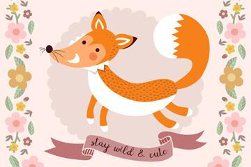 可爱森林狐狸和花边矢量素材