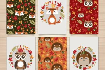 6款扁平化动物卡片矢量素材