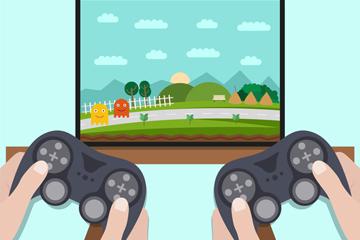 创意玩电子游戏的手臂矢量素材