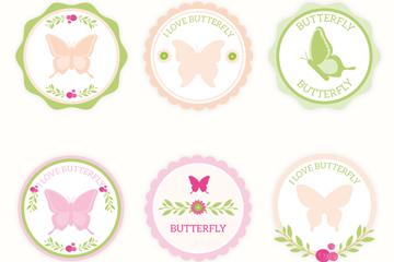 6款清新蝴蝶标签矢量素材