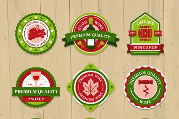 9款绿色优质葡萄酒标签矢量w88优德