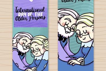 彩绘国际老年人日老夫妇banner矢量图