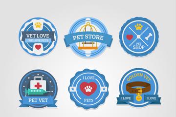 9款蓝色宠物店标签矢量w88优德