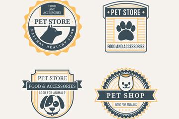 4款创意宠物店标签矢量w88优德