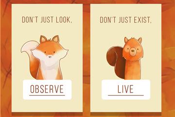 2款可爱动物卡片设计矢量图