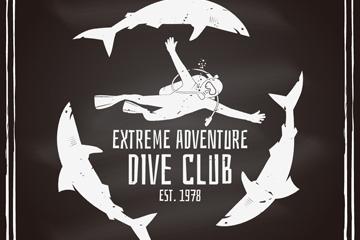 创意潜水俱乐部海报矢量素材