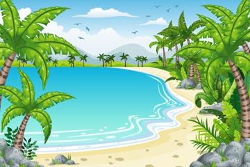 美丽夏季海滩风景矢量素材