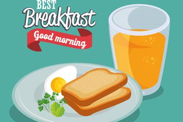 美味营养早餐矢量素材