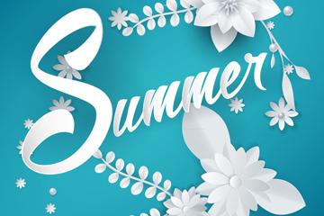 夏季白色纸质花朵矢量素材