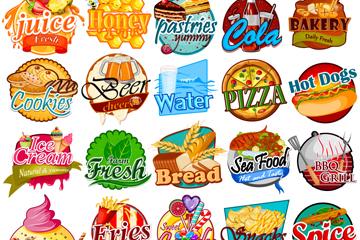 25款彩色食物标签矢量素材