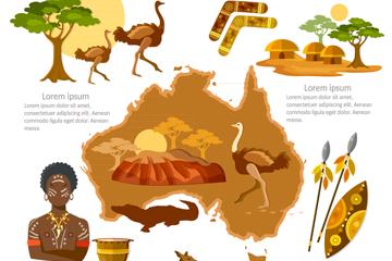 11款卡通澳大利亚旅行元素矢量图