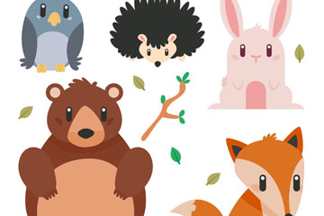 5款可爱动物设计矢量梦之城娱乐