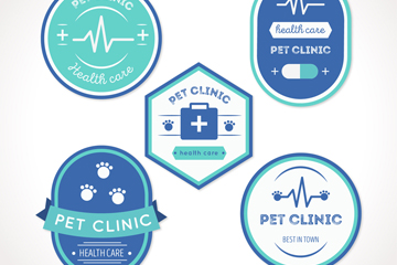 5款蓝色宠物医院标签矢量图