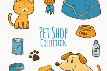 10款彩色宠物商店元素矢量素材