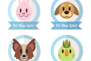 4款可爱宠物店动物头像标签矢量
