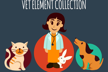 卡通女兽医和宠物矢量素材
